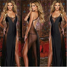 Hot Sale Women Sexy Long Dress Lingerie Sheer Sleepwear Babydoll +G-string