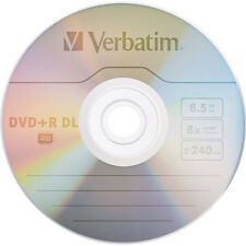 5 VERBATIM DVD+R DL AZO 8.5GB 8X Logo Branded 97000 MKM003 in paper sleeve
