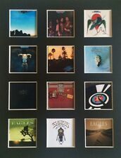 "THE EAGLES DISCOGRAPHY 14"" BY 11"" LP COVERS PICTURE MOUNTED READY TO FRAME"