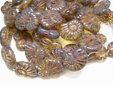 16x13mm Crystal Travertine Czech Glass Ammonite Snail Shell Beads (10) #257
