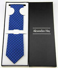 Alexander Hay Gift Boxed Navy Over Check Woven Necktie Tie T009
