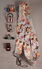 Chip and Dale Theme 5 Pin and Lanyard Set Walt Disney World Trading ~ Brand NEW