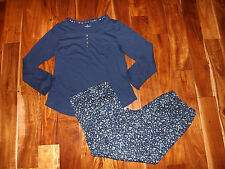 NEW Womens Cuddl Duds 2 Pc L/S Blue Floral Pajamas Sleepwear Set Sz L Large
