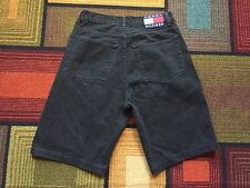 Vintage  90s Tommy Hilfiger Black Denim Jean Shorts sz 32 Box Flag Patch