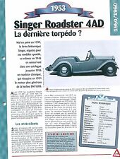 Singer Roadster 4AD 1953  England UK  Car Auto FICHE FRANCE
