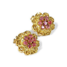 750 Gold & Rubin Ohrringe als Clips Vintage 18K Gold & Ruby Ear Clips Earrings