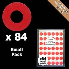 84 x Red hang tag ring/round hole reinforcement stickers/labels