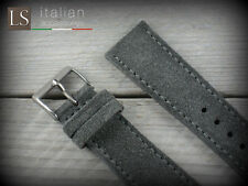 22 mm Genuine Italian Leather LS SUEDE Vintage Watch Strap Band Gray