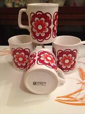 Stafford shire potteries 4 matching vintage floral coffee mugs