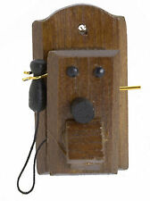 1:12 Dolls House Miniature Wooden Wall Telephone Phone Shop Cafe Accessory