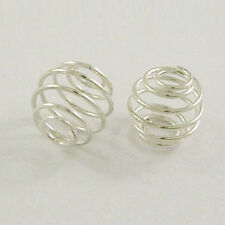 30 Pieces 15 mm Beads Cage Pearl Spiral wire Ball Light silver(1122)