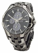 Seiko Solar Alarm Chronograph Black Dial Stainless Steel Mens SSC139 Date Watch