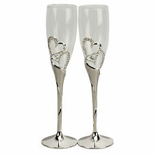 Silverplated Boxed Champagne Glasses with Hearts & crystal, Great Wedding Gift!