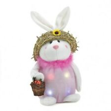 Mom Easter Bunny with Basket and Straw Hat LED Color Changing - Timer Option