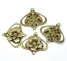 New 10 Bronze Filigree Flower Lantern Pendants Wraps Embellishments 5.5 x 5cm