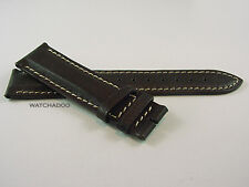 LONGINES 20mm Dark BROWN Contrast Leather Padded Watch Strap Band ONLY
