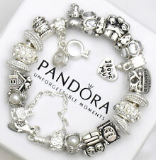 Authentic Pandora 925 Silver Bracelet and Euro Charms Wedding Anniversary Love