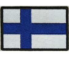 "(H29) FINLAND FLAG 3"" x 2"" iron on patch (5192) Biker Finnish"