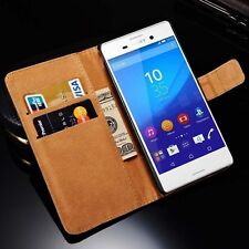 For Sony Xperia M4 Aqua Real Genuine Leather Wallet Stand Case Cover Skin Pouch