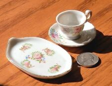 Occupied Japan Tiny Tea Cup, Saucer & Tray Floral Gold Trim