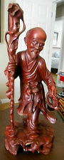 "1940's JAPANESE HAND CARVED 14.5"" STATUE WOOD OLD MAN w/STAFF"
