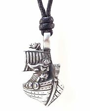 Pewter VIKING SHIP Pendant on Black Cord Necklace Nickel Free Norse