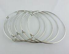 Wholesale Alloy Wire Ring Bangle Bracelet Adjustable Gold Silver Tone Charms DIY