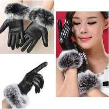 NEW LADIES WOMENS GIRLS SOFT BLACKLEATHER WITH FUR TRIM WINTER GLOVES WARM GIFT