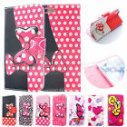Leather Flip Stand Pink Mickey Mouse Disney Phone Cover Case For Iphone 4/5/6/S6