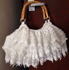VINTAGE WHITE LAYERED LACE WOODEN HANDLES HANDBAG VICTORIAN BRIDE SHABBY CHIC
