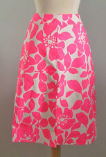 J Crew Collection Leather Skirt in Hibiscus Floral 6 Neon Pink