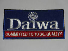 NOVELTY ANGLING SEW ON / IRON ON PATCH:- DAIWA (c) FISHING BLUE STRIPE