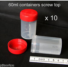 10 x  60ml plastic screw cap container specimen storage sample craft pot bead