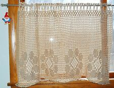 "Handmade Vintage - Crochet Cotton Cafe Curtain Panel Window Valance 32""Wx23.5""L"