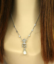 LAVISH 18K WHITE GOLD, DIAMONDS & SOUTH SEA PEARL LADIES DRESS COCKTAIL NECKLACE
