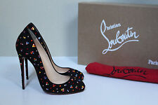 sz 5 / 35 Christian Louboutin Dorissima Clair Black Crystal Round Toe Pump Shoe