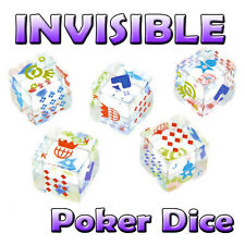 INVISIBLE GAMES - 5 Piece Poker Dice Set - High Quality Clear Acrylic