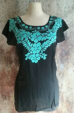 Medium Black  Floral Hand Embroidered Peasant Mexican Tunic Top