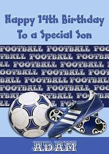 Personalised birthday card football son grandson daughter brother dad nephew n