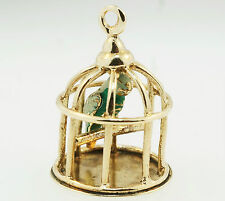 9Carat Yellow Gold Bird Cage Blue Bird Charm (14x20mm)