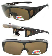 Flip Up POLARIZED Cover Put Fit over Sunglasses wear Rx glass Fit Driving Brown