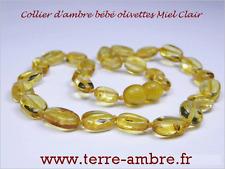 COLLIER D'AMBRE BEBE OLIVETTES CITRON + POCHETTE