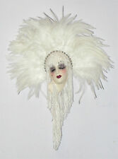 Unique Creations Small Art Deco Lady Face Mask Wall Hanging Decor in White color