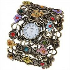 Lady Women Retro Vintage Flower Band White Dial Bracelet Wrist Quartz Watch Gift