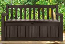 Modern 70 Gallon Brown Bench Storage Box Wood Garden Deck Patio Gardening Tools