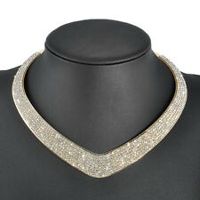 Fashion Women Crystal Pendant Chain Choker Chunky Statement Bib Necklace Jewelry