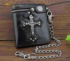 Punk Skulls Cross Money Men's Black Leather Zipper Wallet With A Chain Cool