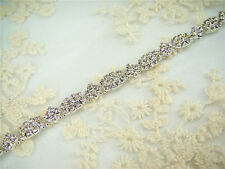 Stunning Diamante Trim Beaded Motif Crystal Bridal Applique Wedding Applique