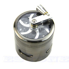 "63mm 2.5"" 4 Layers Zinc Alloy Hand Crank Herb Mill Crusher Tobacco Smoke Grinder"
