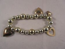 AUNT DEB'S ESTATE BEAUTIFUL BEADED STRETCH BRACELET WITH HEART CHARMS  #5